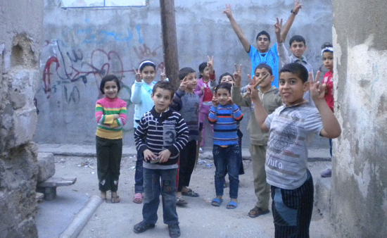 Niños palestinos en el campo de refugiados de Yabalia, en la franja de Gaza / Foto: Miguel Ángel Medina