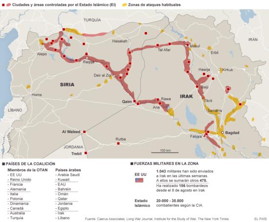 Zonas bajo control del Estado Islámico en Irak y Siria
